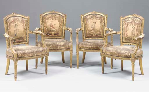A SET OF FOUR FRENCH GILTWOOD