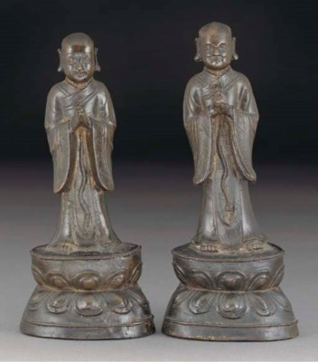 Two Chinese bronze Daoist atte
