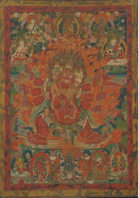 A Tibetan Thangka of a tri-hea