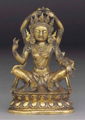 A Sino-Tibetan gilt bronze mod