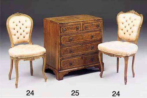 A carved walnut salon chair
