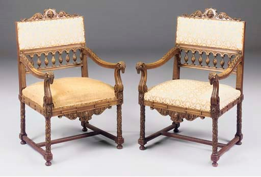 A PAIR OF FRENCH CARVED WALNUT