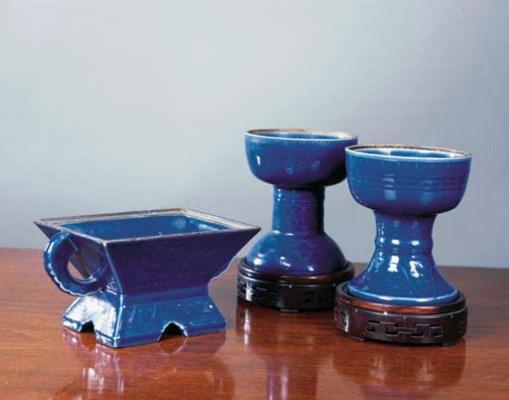 Two Chinese blue-glazed stem b