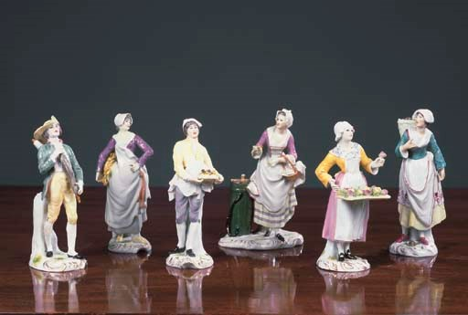 Six German porcelain figures o