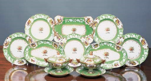 A Spode crested green-ground p