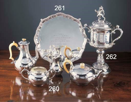 A Four-Piece Victorian Silver