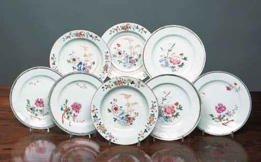 A set of seven famille rose sh