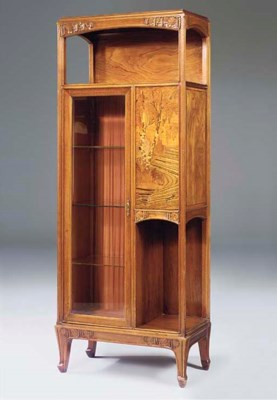 A CARVED WALNUT MARQUETRY DISP