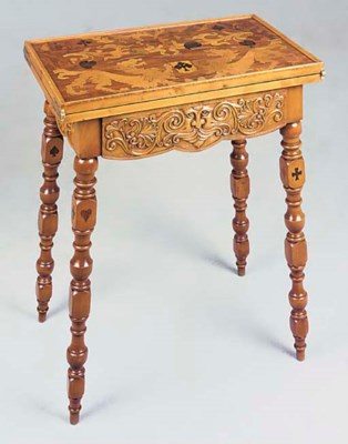 A WALNUT MARQUETRY GAMES TABLE