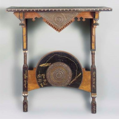 AN INLAID WOOD CONSOLE TABLE