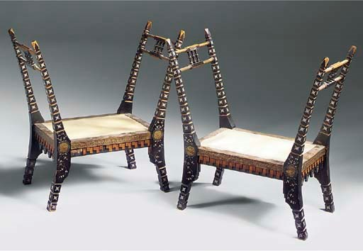 A PAIR OF INLAID SEATS