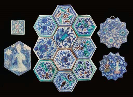 Ten blue and white and turquoi