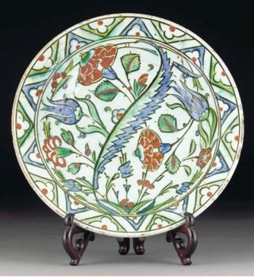 An Iznik pottery dish, Turkey,