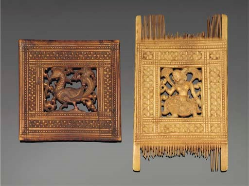 Two Orissan ivory combs, East