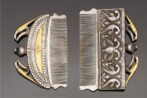 A pair of Indian silver and gi