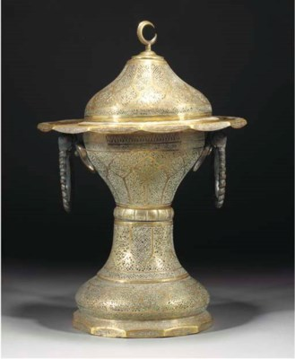 A large Syrian brass brazier,