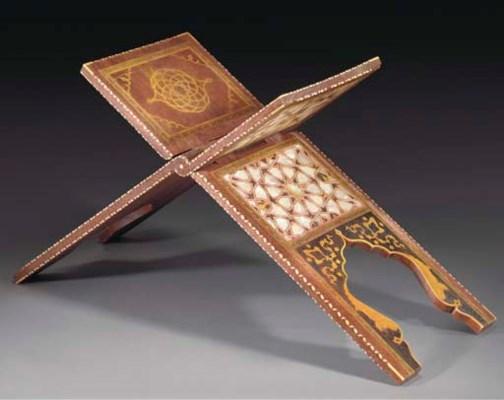 A Turkish inlaid wood qu'ran s