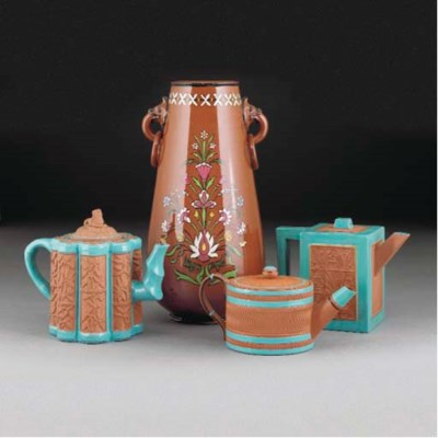 Three Watcombe Teapots and Cov