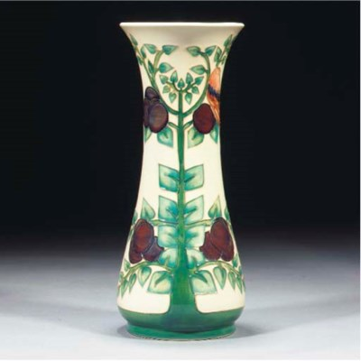 A Moorcroft Bird and Fruit Vas