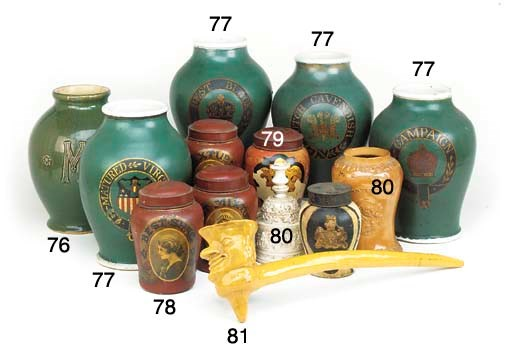 Five large pottery green groun