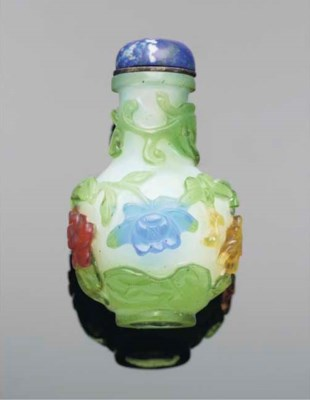 A Chinese glass four-colour ov