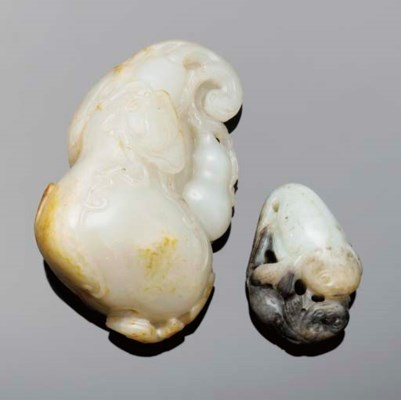 A Chinese white and brown jade