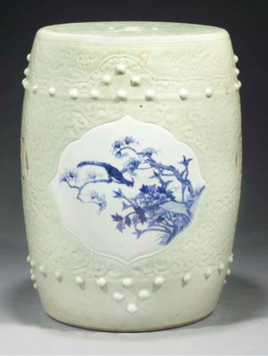 A Chinese moulded celadon and