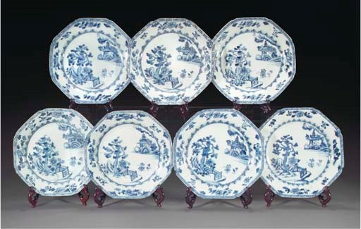 Seven Chinese octagonal blue a
