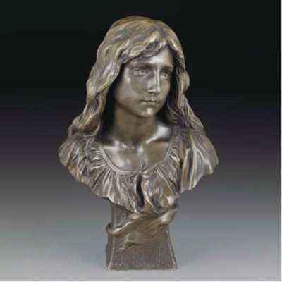 A patinated spelter bust