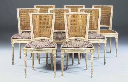 A SET OF EIGHT FRENCH CANED SA