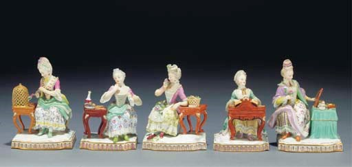 Five Meissen allegorical figur