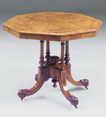 A Victorian burr walnut and in