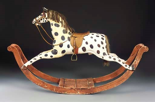 A large painted rocking horse