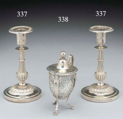 A Pair of Swedish Silver Candl