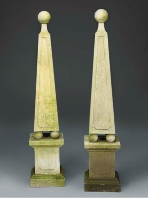A PAIR OF LIMESTONE OBELISKS