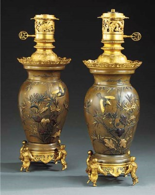 A PAIR OF JAPANESE BRONZE TABL