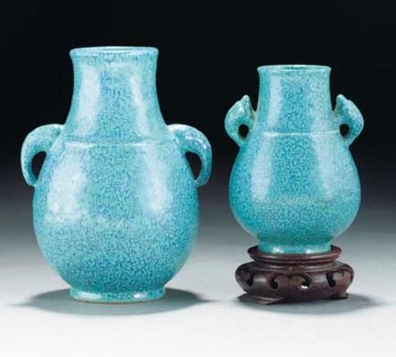Two robin's egg glazed hu vase