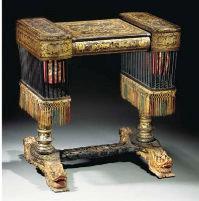 An export lacquer and gilt wri