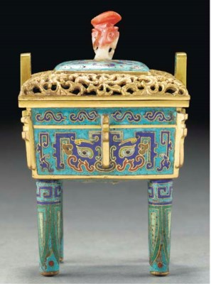 A cloisonne censer and cover,