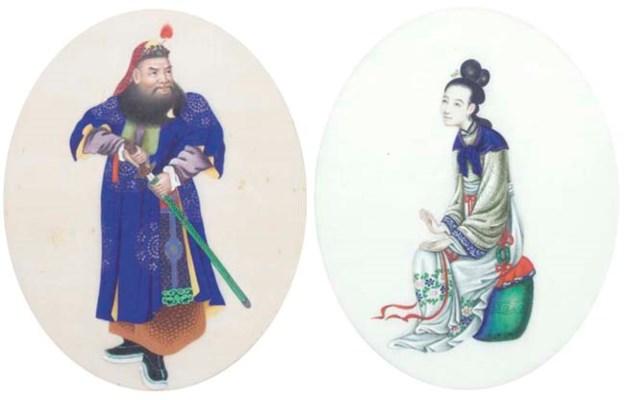A set of five ricepaper painti