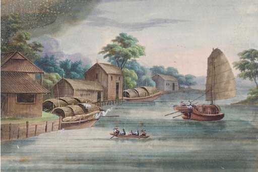 A set of ten ricepaper paintin