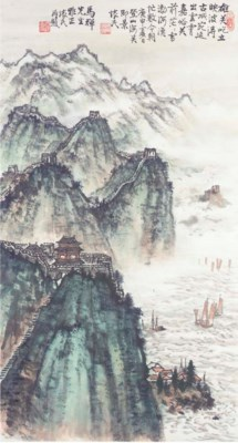 A hanging scroll in ink on pap