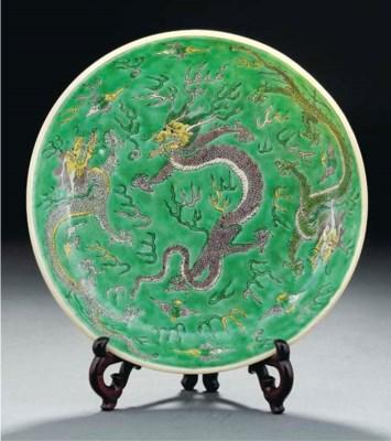 A famille verte dragon dish, K