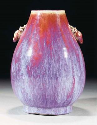A flambe glazed hu vase, 18th