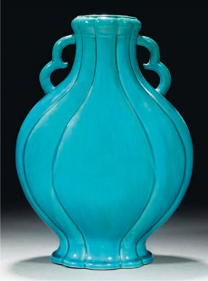 A turquoise glazed moonflask,