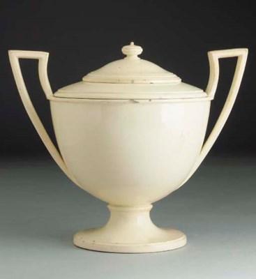 A Greasley creamware two-handl