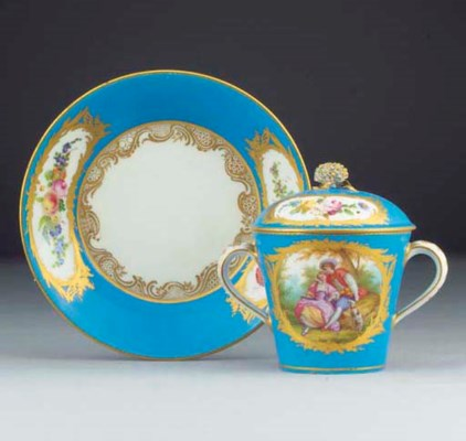 A Sevres (later-decorated) cup