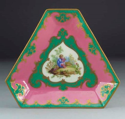 A Sevres (later-decorated) tri