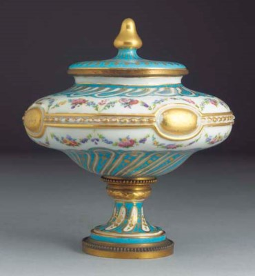 A French Sevres-style gilt-met