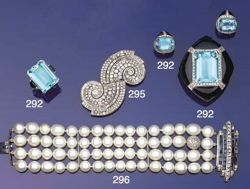 A cultured pearl, sapphire and